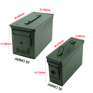 Image 3 - 30+50 Cal/Set Metal Ammo Case Can Military Solid Steel Holder Box Waterproof Tactical Box for Long Term Bullet Valuables Storage
