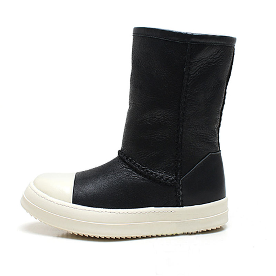 High Top Shearling Fur Warm Winter  Snow Boots Slip On unisex genuine leather high top winter BootsHigh Top Shearling Fur Warm Winter  Snow Boots Slip On unisex genuine leather high top winter Boots