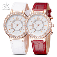 SK Women S Fashion Golden Wrist Watches Red Leather Watchband Top Luxury Brand Ladies Geneva Quartz