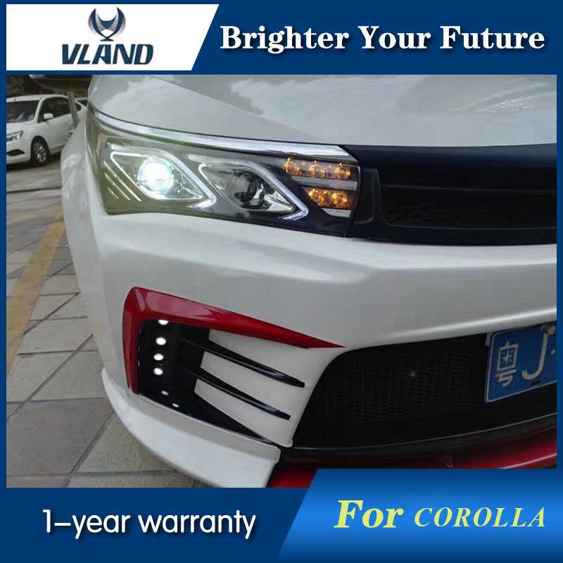 LED Headlight For Toyota Corolla 2014 2015 U-Tube Style HID Xenon Headlights Retrofit Lamps led strip headlights front lamps fit for toyota corolla altis 2014 2015 2016 head lamps with turn signal lamps