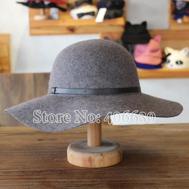Moda gris de Lana de disquete sombreros para las mujeres de Gran Ala Chapeu sombreros de Ala Sombreros Formales SADW-003 Iglesia Sombreros Femeninos el envío libre