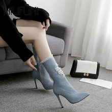 Fashion Pointed Toe Denim Hole Women's Boots 2019 New Spring Autumn Mid Calf Boots Women Casual Stiletto High Heels Ladies Shoes масленка agness 19х12х7см нерж сталь