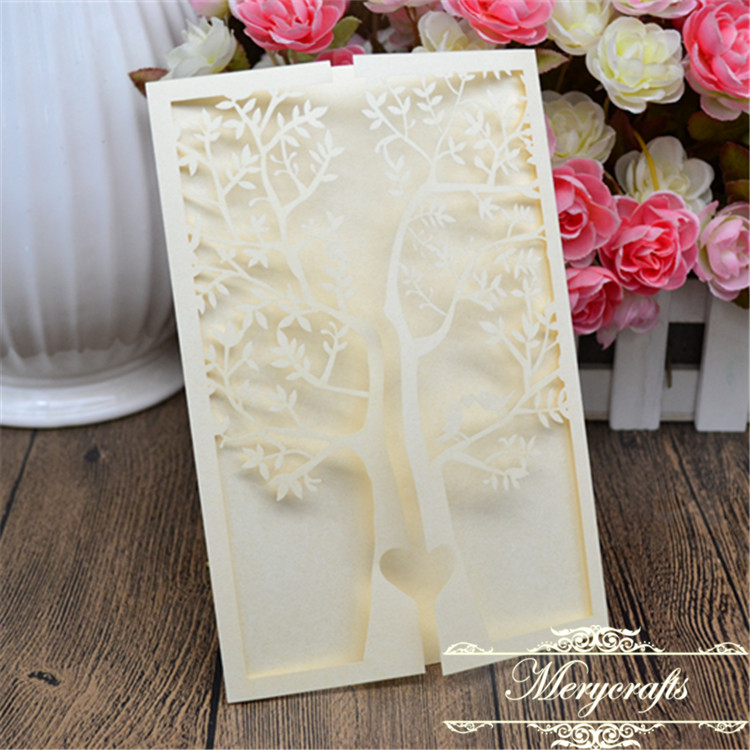 Simple handmade design laser cut peach engagement tree wedding ...