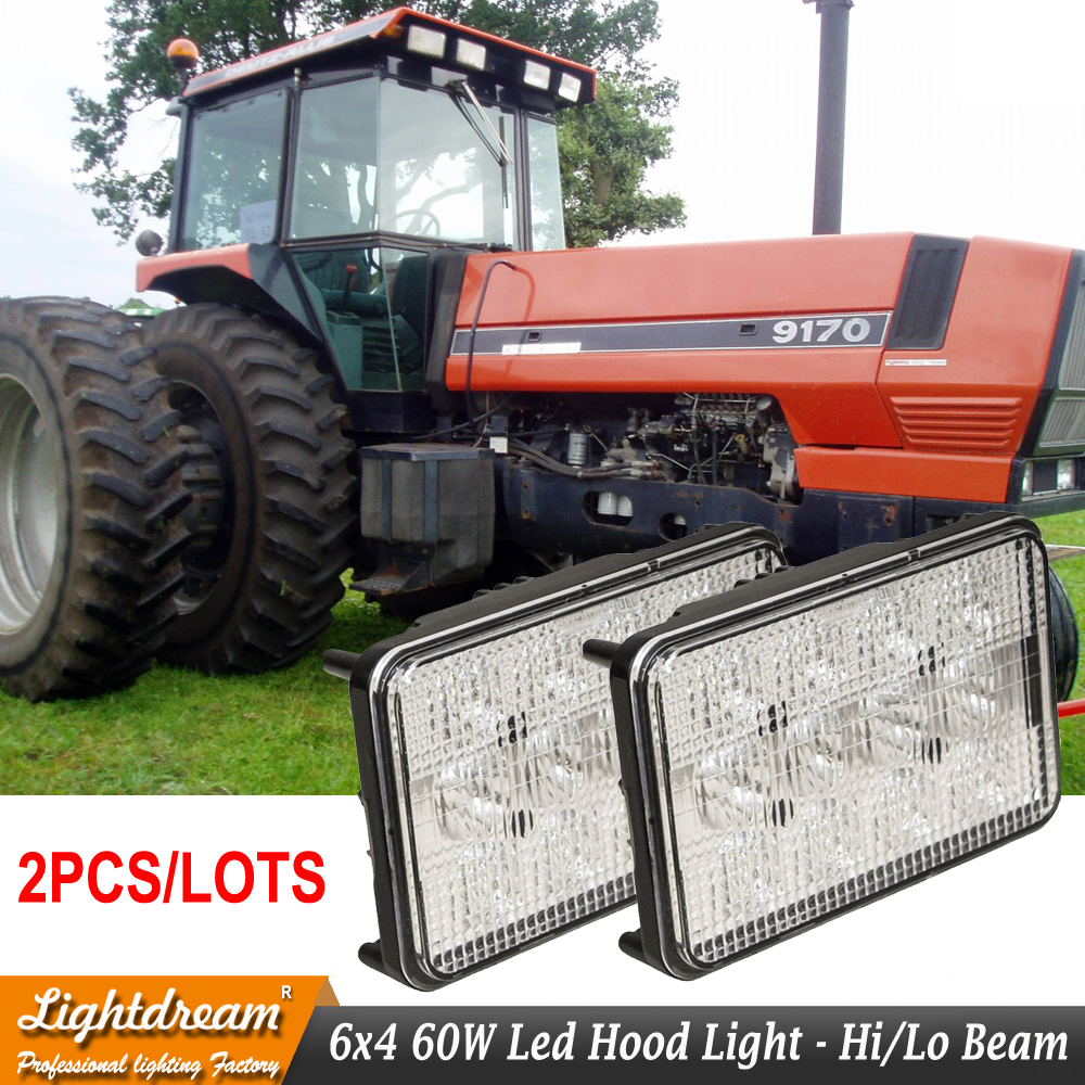 2pcs 60W led work driving truck tractor lights 6x4 High low beam with H4 plug LED Hood Front HeadLight For AGCO Allis Tractors