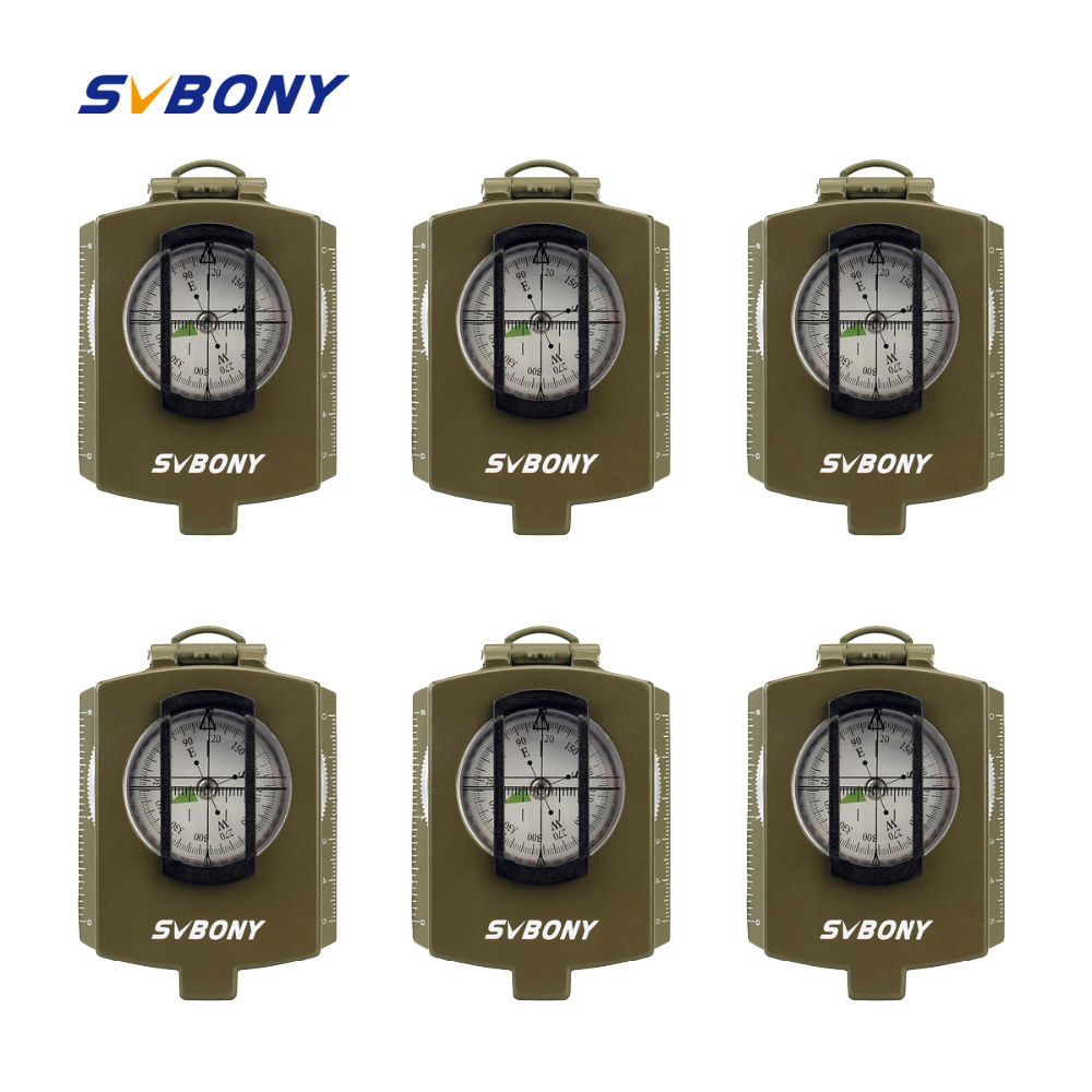 6 pcs SVBONY Compass Pocket Style Survival Military Outdoor Metal Compass for Hiking Travel Hunting Camping Equipment F9136 7356 15 led compass bivouac camping lantern light lamp travel outdoor exercise equipment with compass