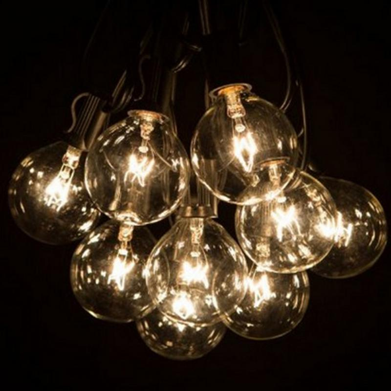 G40 25 Tungsten Lights With Clear Light Cue Decorative Camping Party Patio  String Lights Decorative Lighting