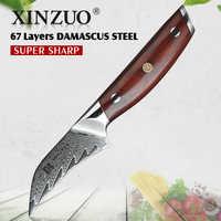 XINZUO 3 pulgadas cuchillo de pelar japonés Damasco acero VG-10 ergonómico mosaico remache palo de rosa mango fruta pelar cuchillo de cocina