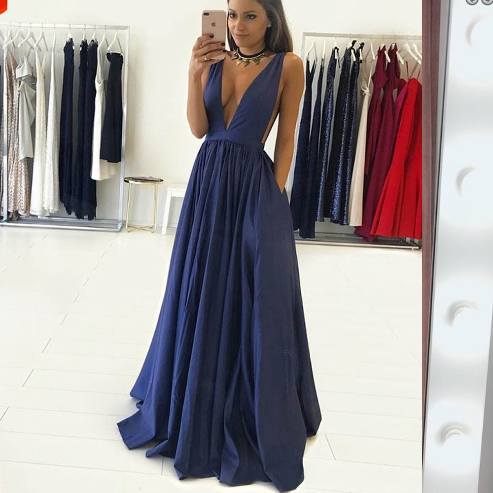 2019 Long Navy Blue V Neck A Line Long   Prom     Dresses   Sleeveless vestidos de fiesta de noche largos elegantes vestidos de gala
