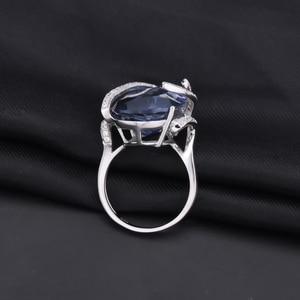 Image 3 - Edelstein der Ballett 20Ct Natürliche Iolite Blau Mystic Quarz Ring 925 Sterling Silber Vintage Cocktail Ringe Für Frauen Edlen Schmuck