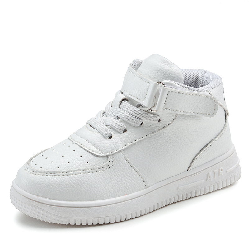 White children's sneakers high quality boys and girls casual leather shoes winter students shoes brand high tube board shoes