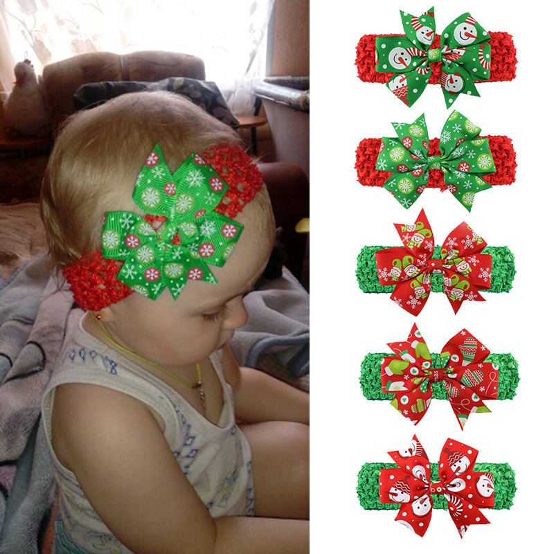 Bowknot Baby Headbands For Girls Big Flower Baby Bows Turban Hair Band Infant Kids Haarband Baby Hair Accessories Christmas