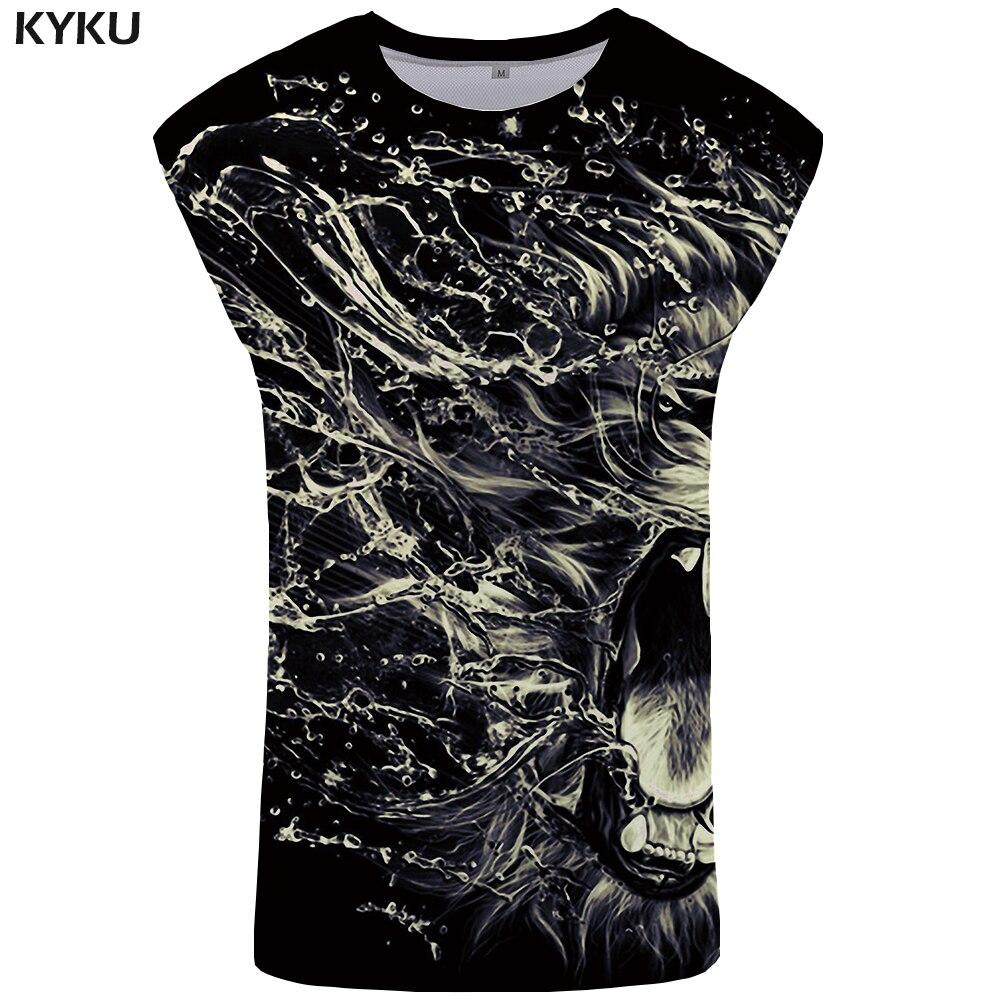 KYKU Brand Lion   Tank     Top   Men Water Undershirt Punk Mens Bodybuilding Rock Singlet Stringer Vest Sleeveless Shirt Man Clothes