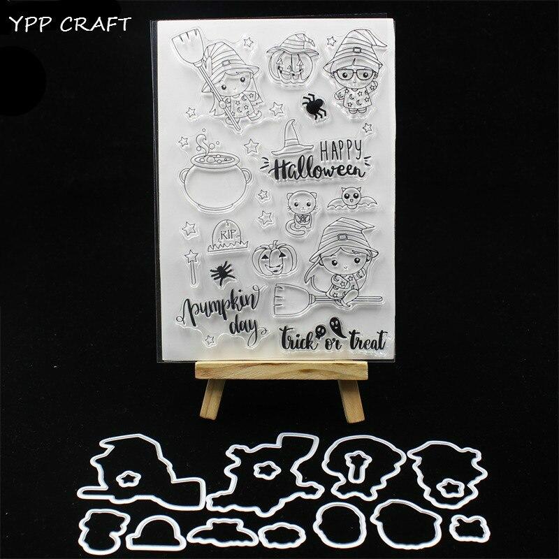 YPP ARTISANAT Heureux Halloween Timbre Et Matrices à Découper Pochoirs pour le BRICOLAGE Scrapbooking/photo album Décoratif Gaufrage BRICOLAGE Papier 239