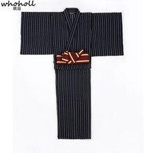 WHOHOLL Striped Vintage Man Kimono Japanese Traditional Yukata with Belt Halloween Party Cosplay Samurai Clothing Warrior Kimono