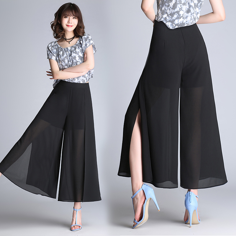 c47b2bd6fb Tamaño Flojo Negro Moda Elegante Del Ancho Mujeres Verano Pantalones  Pantalón Alta Longitud Split Gasa Más Tobillo Cintura ...