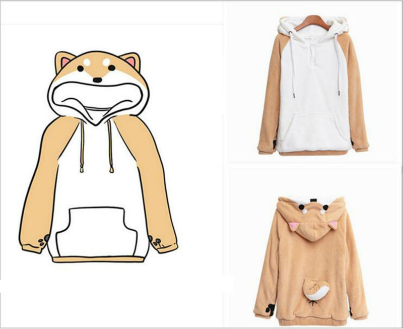 Dog Lovers Hoodies Dog Pet Doge Hoodies With Ears Tail Sweatshirt Shiba Hoodie