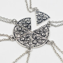 6pcs Pizza Pendant Necklaces Friendship Necklace Best Friends Forever Creative Keepsake Memorial Day Christmas Gift For Friend(China)