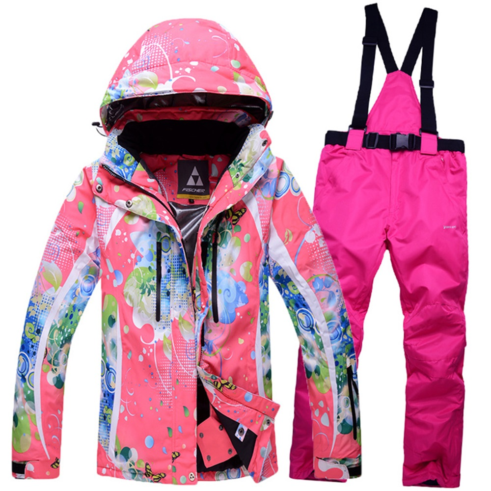 women ski suit skiwear skiing jacket and pants set bright color printed  windproof super warm water proof snowboard clothes-in Skiing Jackets from  Sports ... 01cdd3302