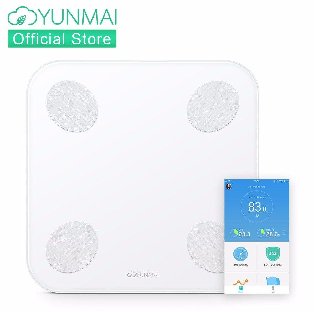 YUNMAI Баланс цифровые весы напольные Smart жира монитор с Скрытая светодиодный Дисплей, ванная комната масштаб с бесплатной iOS и Android App