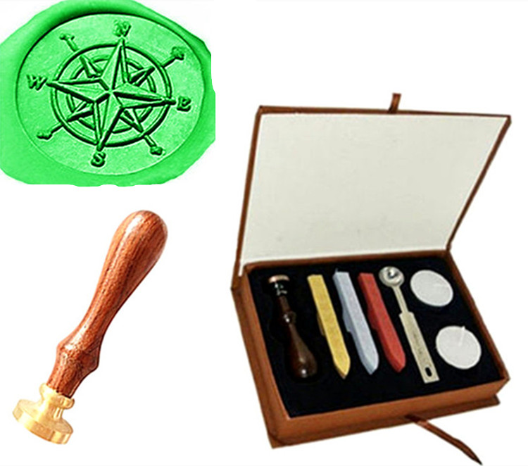 Custom Vintage Compass Star Orientation Personalized Picture Letter Logo Wedding Invitation Wax Seal Stamp Sticks Gift Box Set new design your own custom picture logo letter personalized embosser stamp
