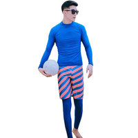 Mens Sun Protection Swim Shirts Trunks Leggings Full set 3 Piece Rash Guard Swim Surf Snorkel Tee Long Sleeve Swimwear Sun UV