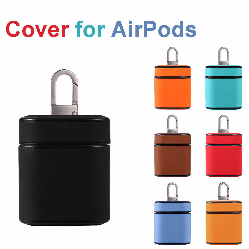 1PCS Leather Earphone Charging Box Cover For Airpods 1/2 Wireless Headphone Case Charging Box Cover With Hook
