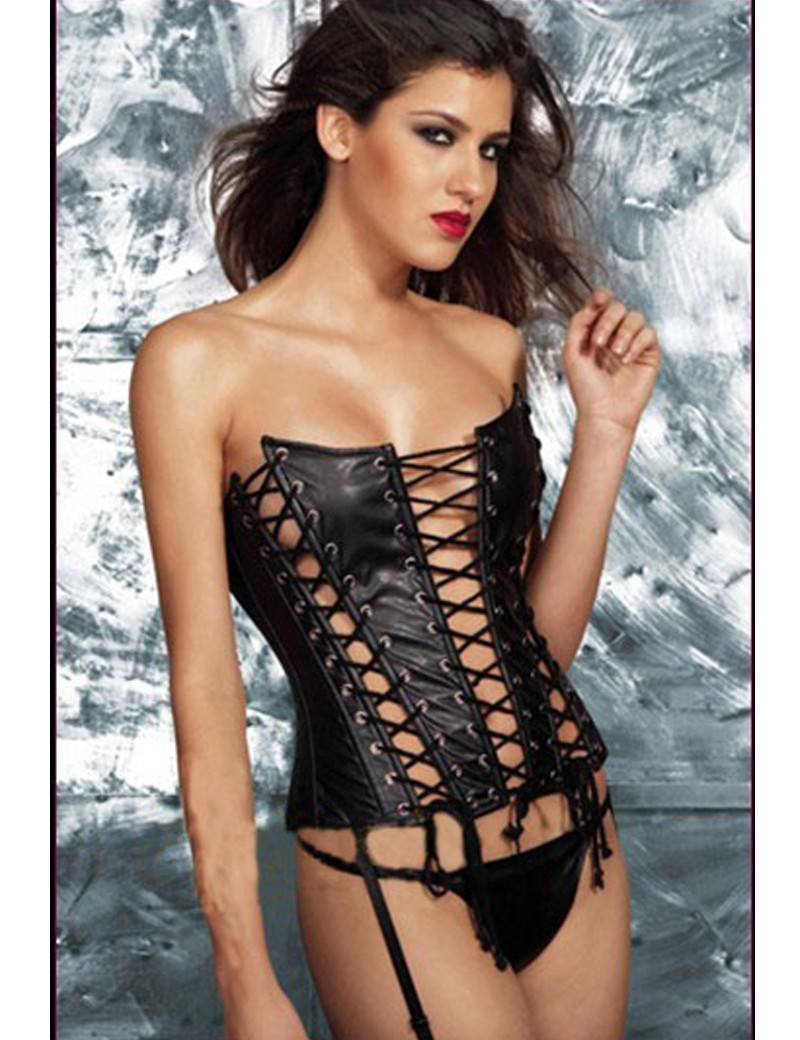 MOONIGHT Hollow Out Faux Leather Corset Sexy Women Strapless Black Overbust Lace Up Corset Bustier Top For Women S-XL