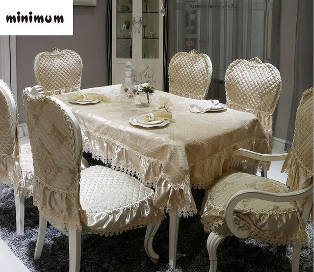 European Style High Grade Fabric Dining Tablecloth Chair Cover Double Layer Embroidered Lace Table Cloth