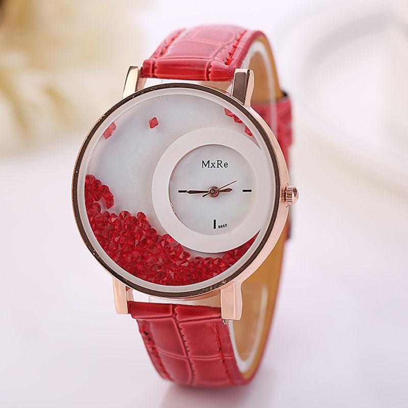 CLAUDIA Women Quartz Watch Ladies Leather Watches Women Quicksand Rhinestone Bracelet Wristwatch Relogios Feminino Montre Femme