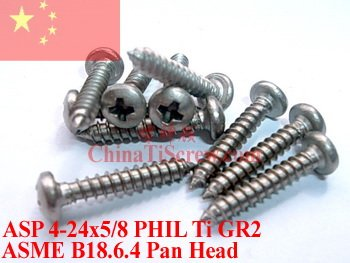 Titanium screws 4-24x 5/8 Pan Pan Head PHIL Driver Self Tapping Ti GR2 Polished 50 pcs