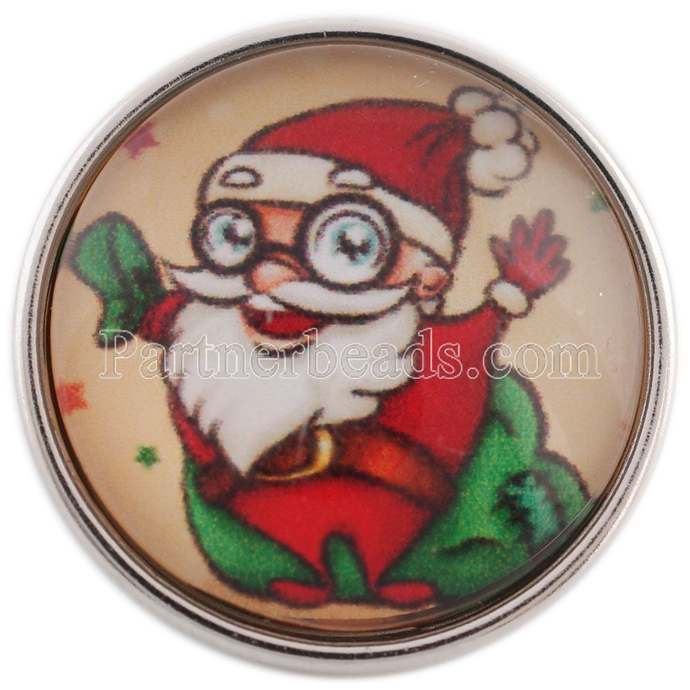PARTNERBEADS 20mm Classic Glass Santa Claus Snap Jewelry Christmas Git Hot Snap Button Jewelry Fit Bracelet & Pendants C1109