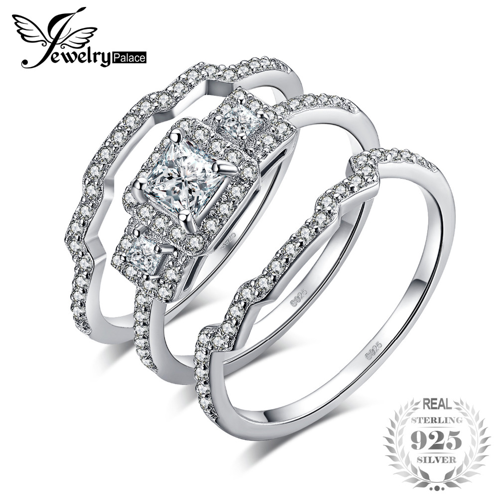 JewelryPalace 3 Stone Princess Cut CZ Anniversary Promise Wedding Band Engagement Ring Bridal Sets 925 Sterling Silver JewelryPalace 3 Stone Princess Cut CZ Anniversary Promise Wedding Band Engagement Ring Bridal Sets 925 Sterling Silver