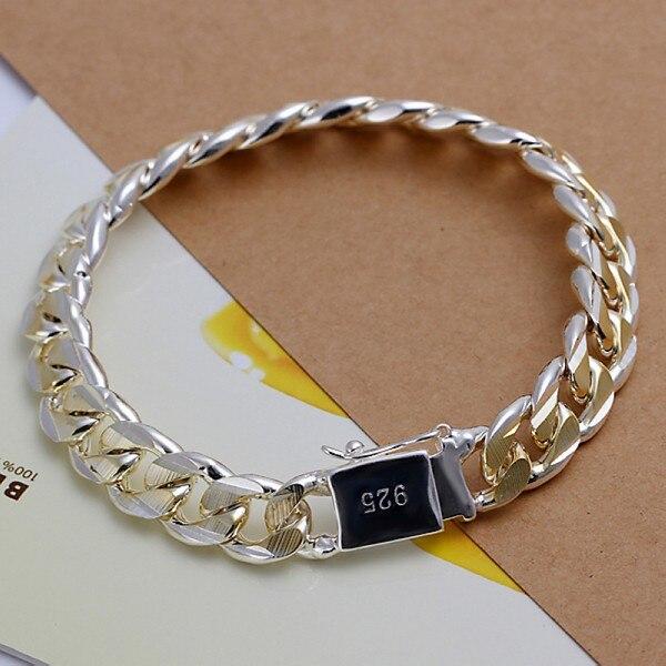 Men's Jewelry bracelet 925 Plated Silver 10mm wide 21cm golden thick fine fashion bracelet Pulseiras de Prata male modle Bijoux