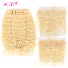 ALOT Brazilian 613 Deep Wave Hair Bundles With Frontal Transparent Lace Honey Blonde Non Remy Human Hair Weaving With Frontal(China)