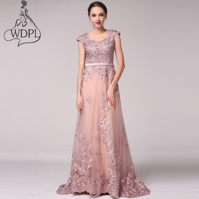 Vintage A Line Tulle Prom Dresses 2017 Rose Pink Lace Appliques Gorgeous  Evening Dress Custom Made Party Gowns Robe De Soiree 172f7a01cb4f
