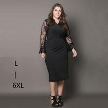 Summer hollow lace sleeve patchwork black dress Sexy v neck evening party wrap dress Plus size dresses for women 4xl 5xl 6xl