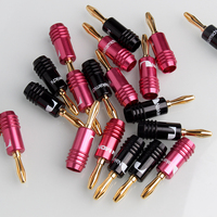 10pcs Pink 10pcs Black Banana Musical Speaker Cable Plugs 4 5 4mm Durable Adapters Gold Plated