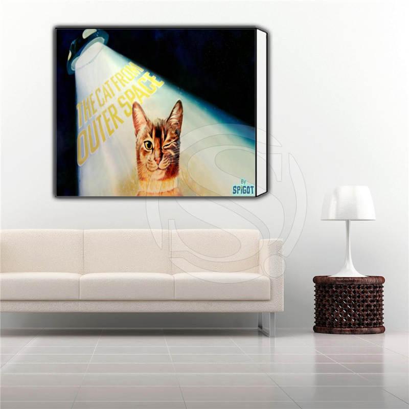 ⑦Aceite de encargo animal encantador gato impresión del cartel en ...
