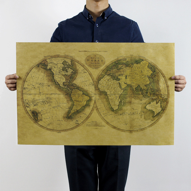 Aliexpress buy large vintage old global world map home large vintage old global world map home decoration antique poster wall chart retro paper matte kraft gumiabroncs Gallery
