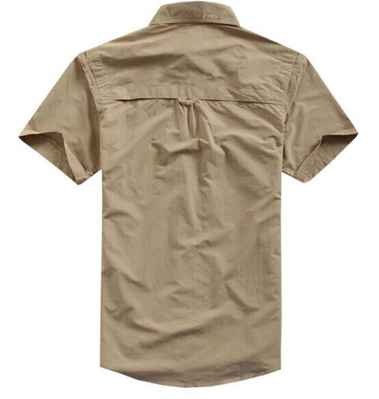 men 39 s outdoor tactical quick dry short sleeve shirt tan hiking camping anti uv breathable. Black Bedroom Furniture Sets. Home Design Ideas