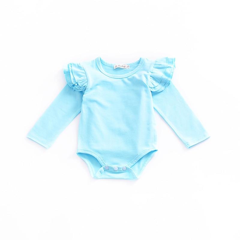2018 Newborn Solid Color Light Blue Flutter Sleeve Baby Onesie Baby Bodysuit Toddler Bodysuit Baby Long Sleeve Newborn Onesie