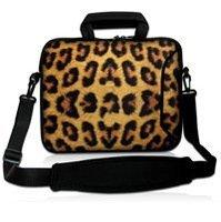 """10 """"Brown leopard Ordenador Portátil Del Neopreno Bolsa de Transporte Cubierta de la Caja de la Manga w/Pocket Side + Correa Para El Hombro 9.7""""-10.2 """"Tablet PC portátil"""