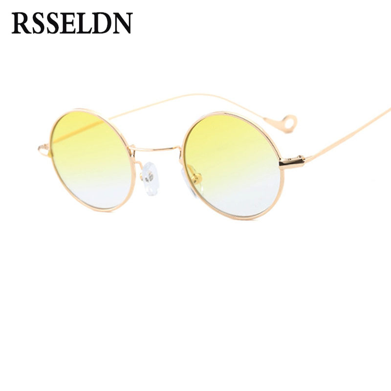 RSSELDN Retro Small Round Sunglasses Men Brown Green Yellow Lens Metal Frame Fashion Sun ...