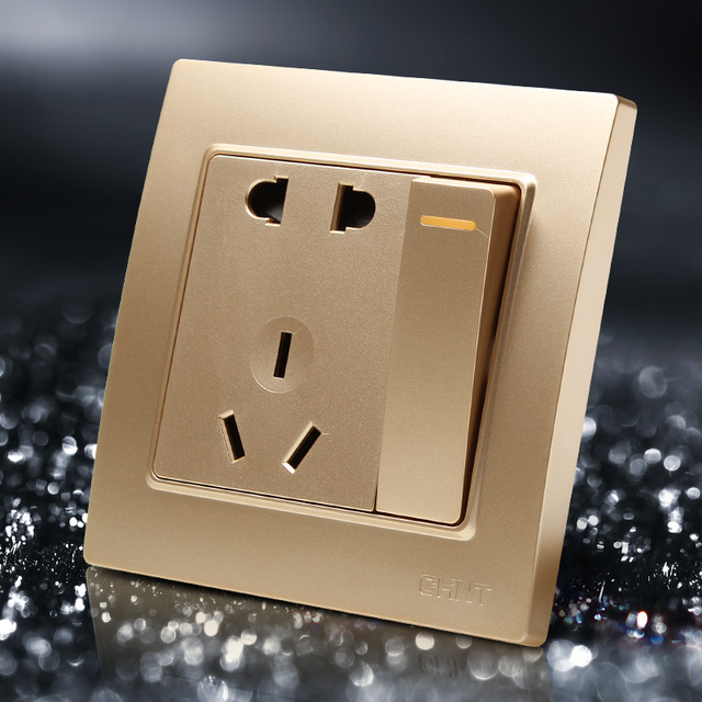 Champagne Color 86mm Single Control Switch Steel Frame Wall Outlet ...