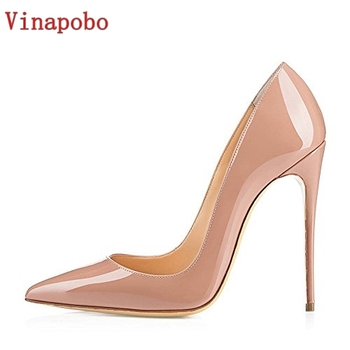 Vinapobo Plus Size 34-43 2018 New Fashion high heels women pumps thin heel classic white red nede beige sexy prom wedding shoes