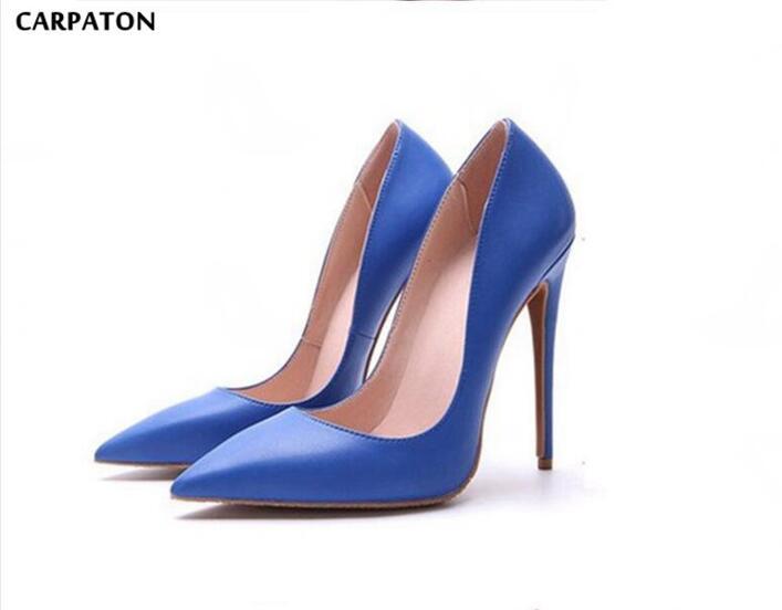 Carpaton 2018 Date Junior Fille Royal Bleu Solide Mince À Talons Hauts Bout Pointu Peu Profonde Bureau & Party modèle Fait pour Dames de mode
