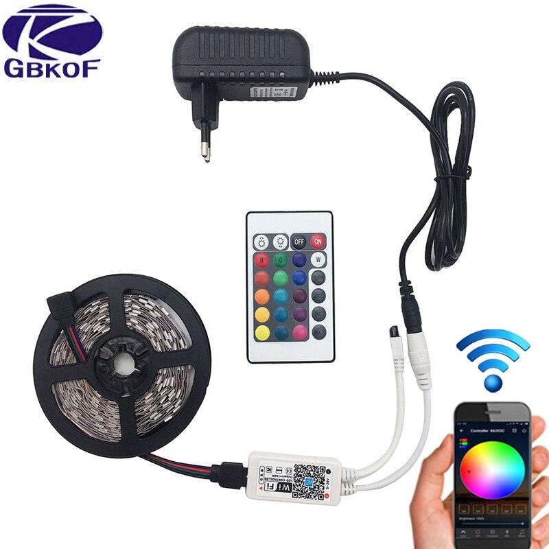 5 м 5050 RGB WI-FI Светодиодные ленты свет Водонепроницаемый RGB 10 м 15 м светодиодный лента удаленного WI-FI Беспроводной контроллер 12 В адаптер питания комплект