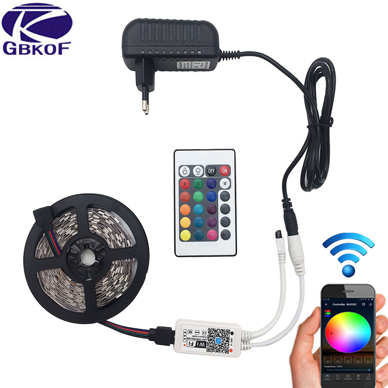 5 mt 5050 RGB WIFI LED Streifen licht Wasserdicht RGB 10 mt 15 mt led band band Fern WIFI Drahtlose controller 12 v power adapter Kit