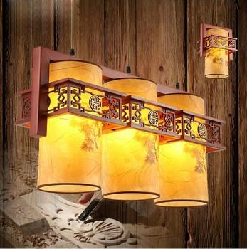 Chinese restaurant Pendant Lights wood carving antique light 1/2/3 heads imitation sheepskin lamps corridor lamp ZS40