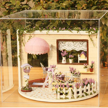 ASSEMBLED MODEL FOR MINI House Furniture Miniature 3D Wooden Dollhouse With  LED Handmade Toys For Children I001#
